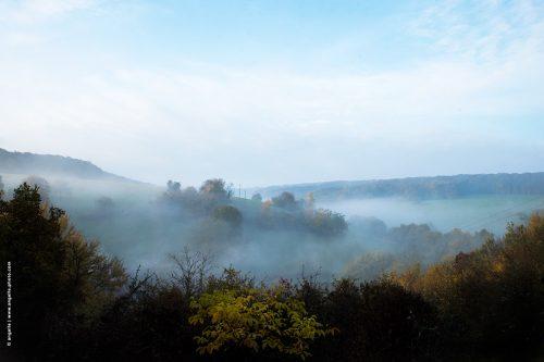 photo © angelle paysage panorama campagne nièvre douceur brume automne évaporé