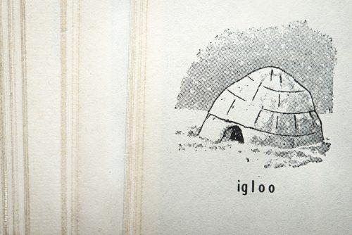 photo © angelle dictionaire igloo froid hiver représentation dessin au trait reproduction papier matière